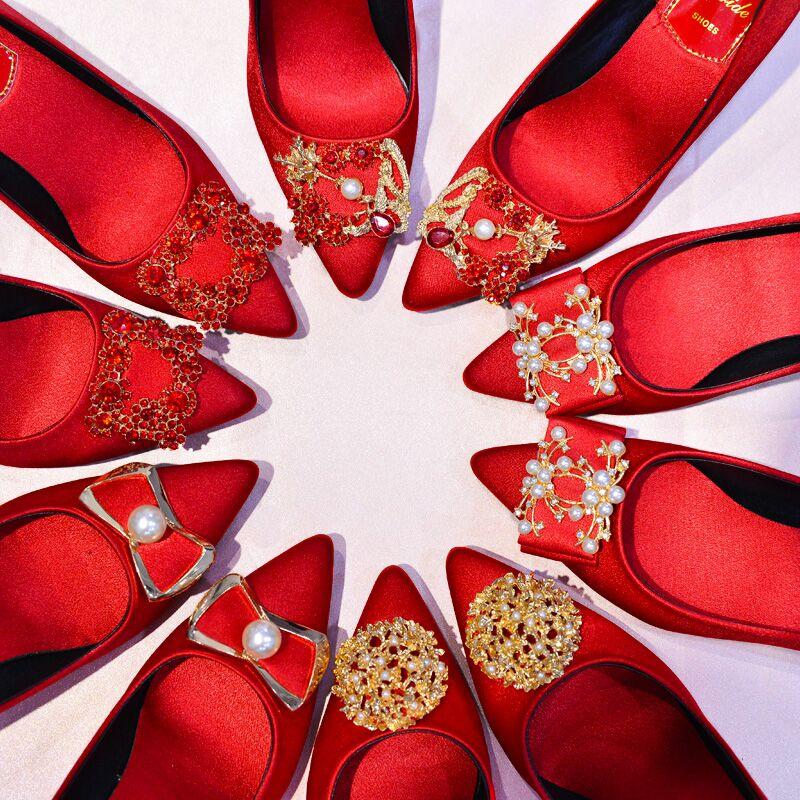 红色平底鞋 婚鞋女2020新款结婚鞋平底中式秀禾服婚鞋粗跟孕妇红色新娘鞋敬酒_推荐淘宝好看的红色平底鞋
