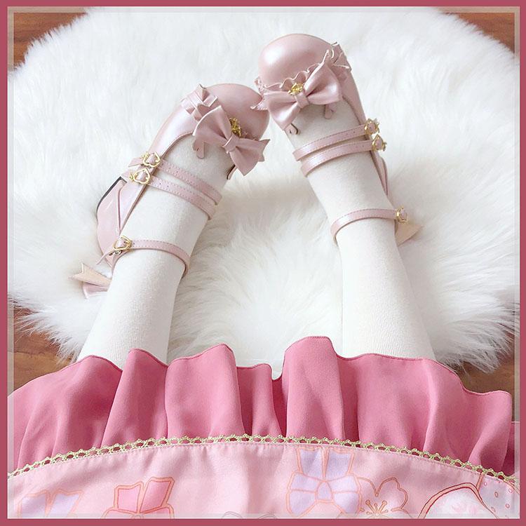 平底鞋 甜兔座现货(麋鹿)可爱lolita单鞋低跟平底圆头蝴蝶结软底女中低_推荐淘宝好看的女平底鞋