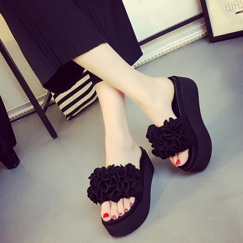 松糕厚底拖鞋 2021新款拖鞋女夏时尚韩版外穿甜美花朵厚底松糕跟一字型凉拖鞋潮_推荐淘宝好看的女松糕厚底拖鞋
