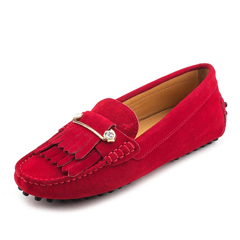 流苏豆豆鞋 AUSLAND 沃德丰女鞋豆豆鞋牛皮单鞋时尚休闲鞋百搭流苏鞋_推荐淘宝好看的流苏豆豆鞋