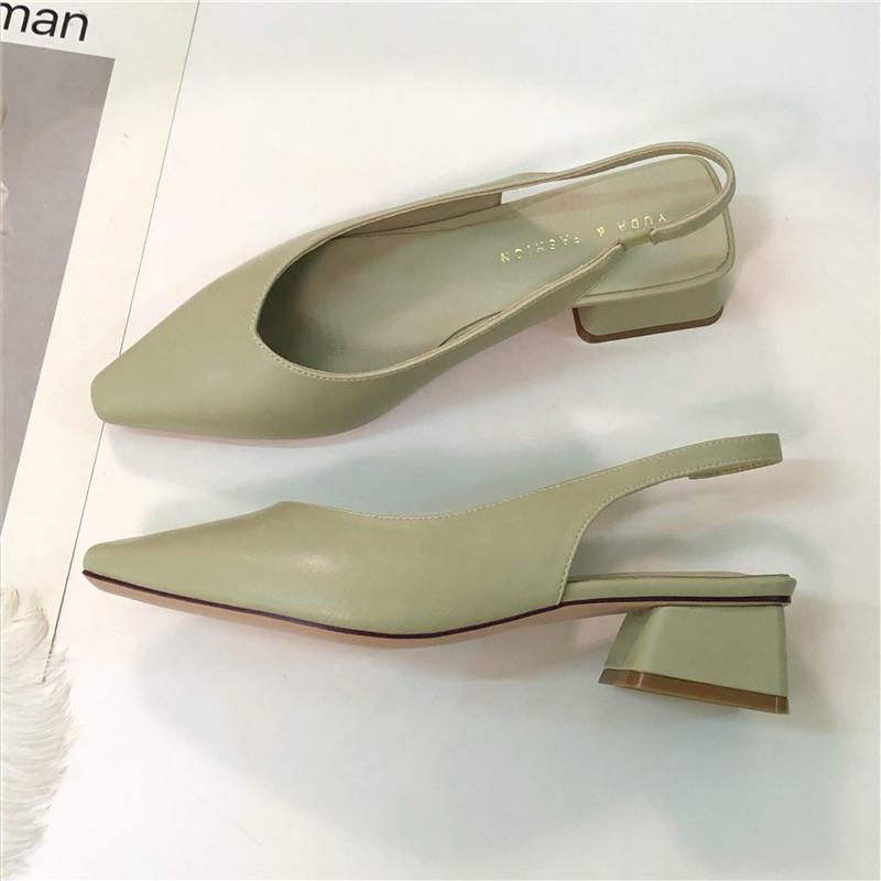 绿色单鞋 柠檬家 韩国风绿色小方头浅口套脚粗跟鞋夏季单鞋软面OL中跟女鞋_推荐淘宝好看的绿色单鞋