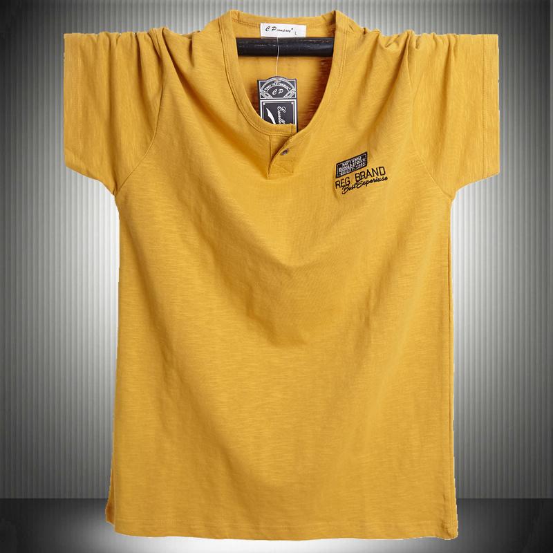 黄色T恤 夏季国潮胖子男装宽松竹节纯棉短袖T恤姜黄色加肥大码半袖肥佬衫_推荐淘宝好看的黄色T恤