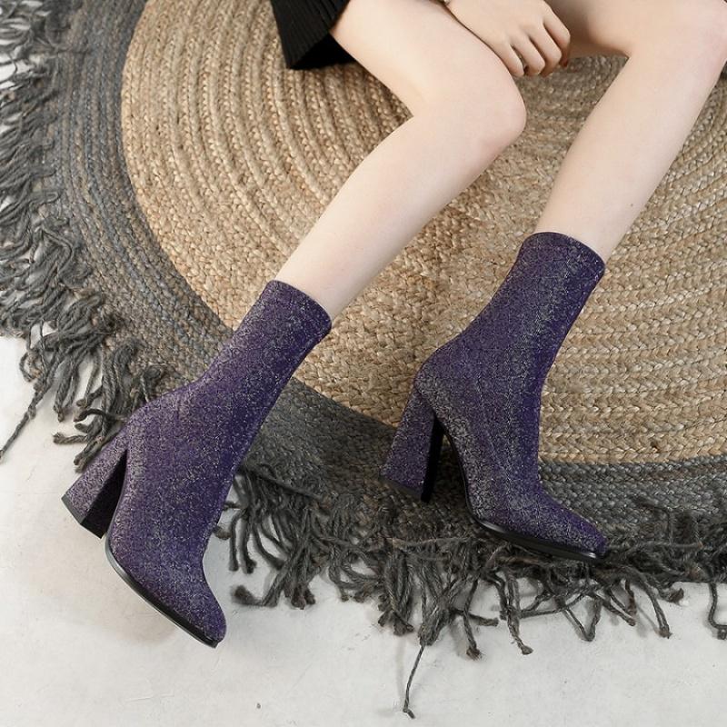 女性高跟鞋 短筒单靴弹力布靴鞋女尖头粗跟高跟短靴蓝色紫色靴女大码女靴 HZH_推荐淘宝好看的女高跟鞋