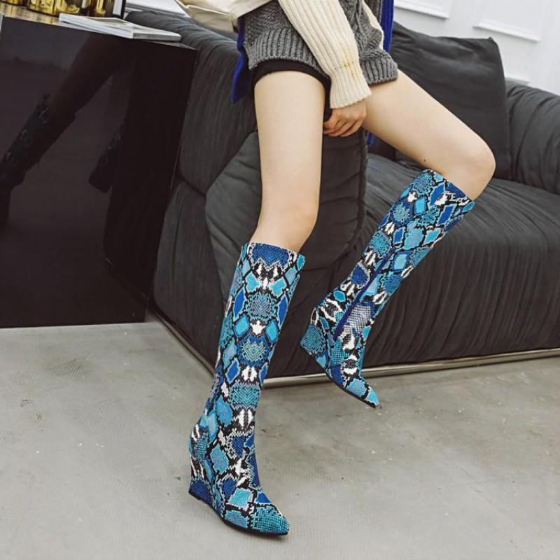 黄色坡跟鞋 鞋女秋冬蛇纹鞋女黄色灰色蓝色靴女高跟高筒坡跟靴女大码靴女 OD_推荐淘宝好看的黄色坡跟鞋