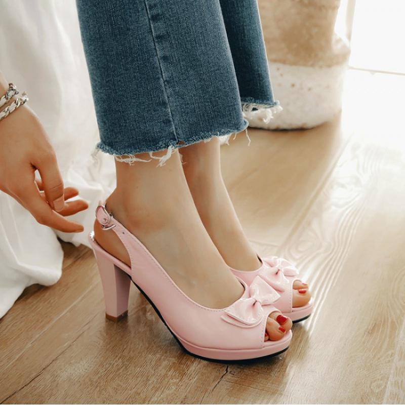黄色鱼嘴鞋 漆皮蝴蝶结鱼嘴白色桃红色粉色蓝色黄色鞋女大码凉鞋小码凉鞋 CFD_推荐淘宝好看的黄色鱼嘴鞋