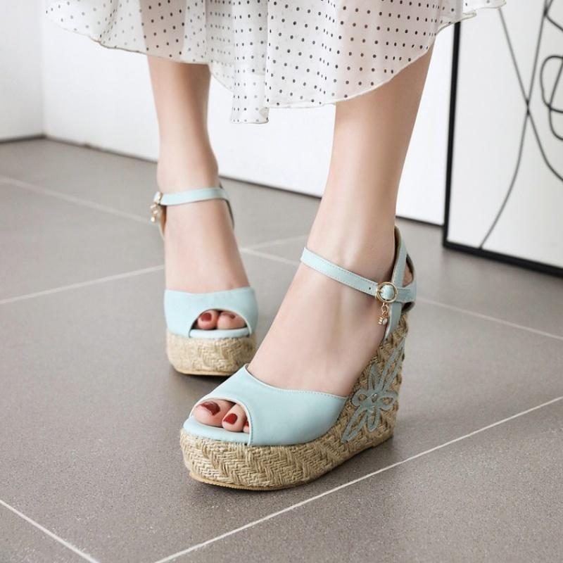 大码坡跟女凉鞋 夏季鞋女鞋女粉色蓝色白色凉鞋高跟坡跟凉鞋小码凉鞋大码凉鞋 YQ_推荐淘宝好看的女大码坡跟凉鞋