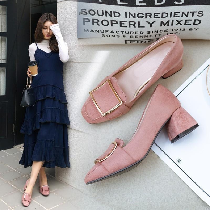 粉红色单鞋 2020新款春秋鞋粉红色鞋女婚鞋粗跟中跟单鞋小码鞋子大码鞋女 LJ_推荐淘宝好看的粉红色单鞋