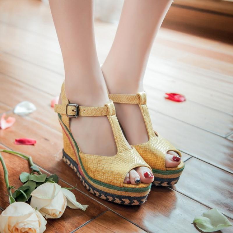 黄色坡跟鞋 夏季鞋女灰色蓝色凉鞋黄色凉鞋高跟坡跟凉鞋大码凉鞋小码凉鞋 MTH_推荐淘宝好看的黄色坡跟鞋