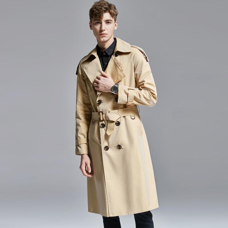 男士长款风衣 过膝长风衣男2021春秋新款帅气英伦变色龙大衣超长外套长袖11661_推荐淘宝好看的男长风衣