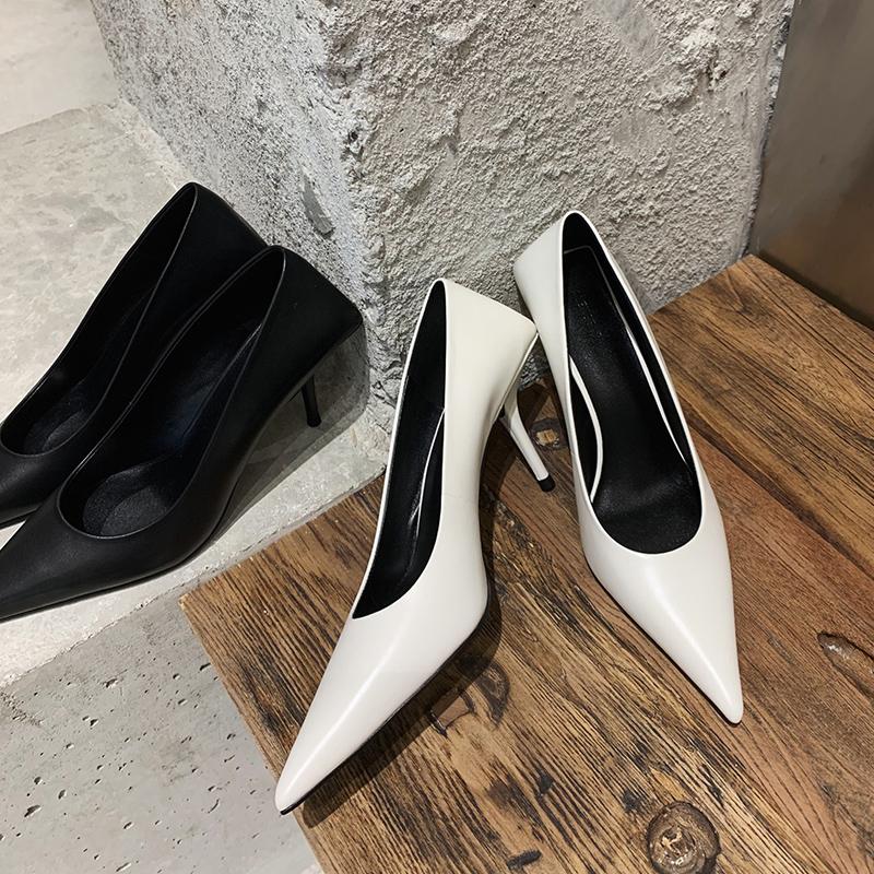 白色尖头鞋 ALEXSARA尖头设计感小众高跟鞋 2021网红气质白色新款细跟单鞋女_推荐淘宝好看的白色尖头鞋