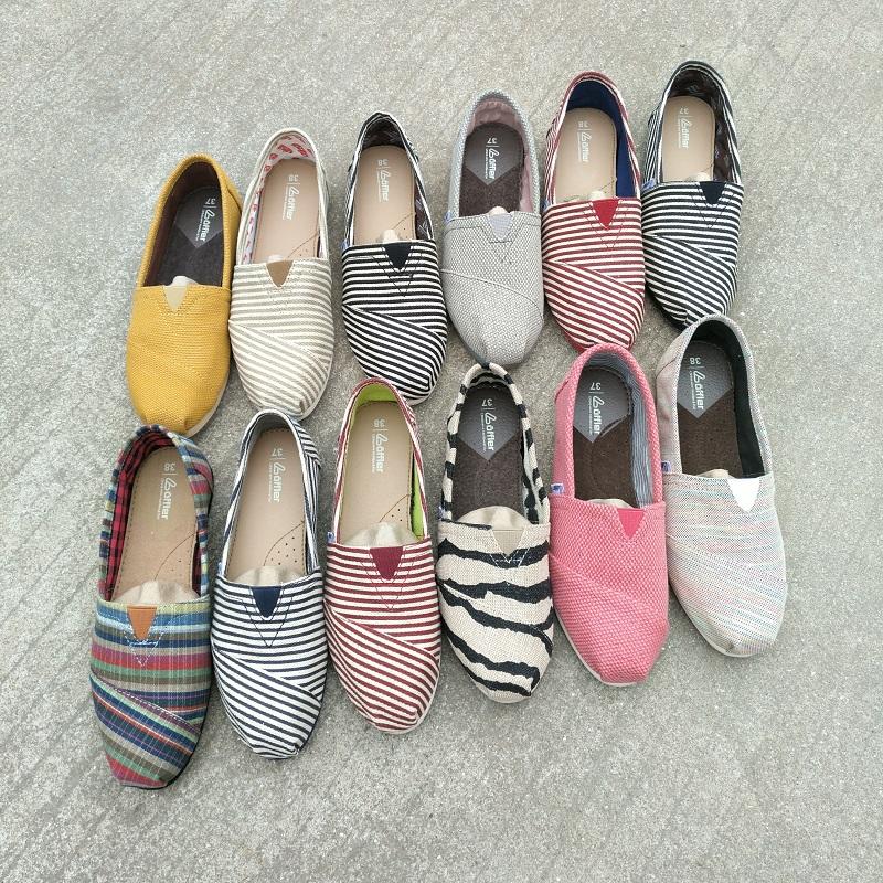 纯色帆布鞋 春夏季条纹纯色亚麻帆布鞋平底浅口一脚蹬懒人鞋休闲女鞋_推荐淘宝好看的女纯色帆布鞋