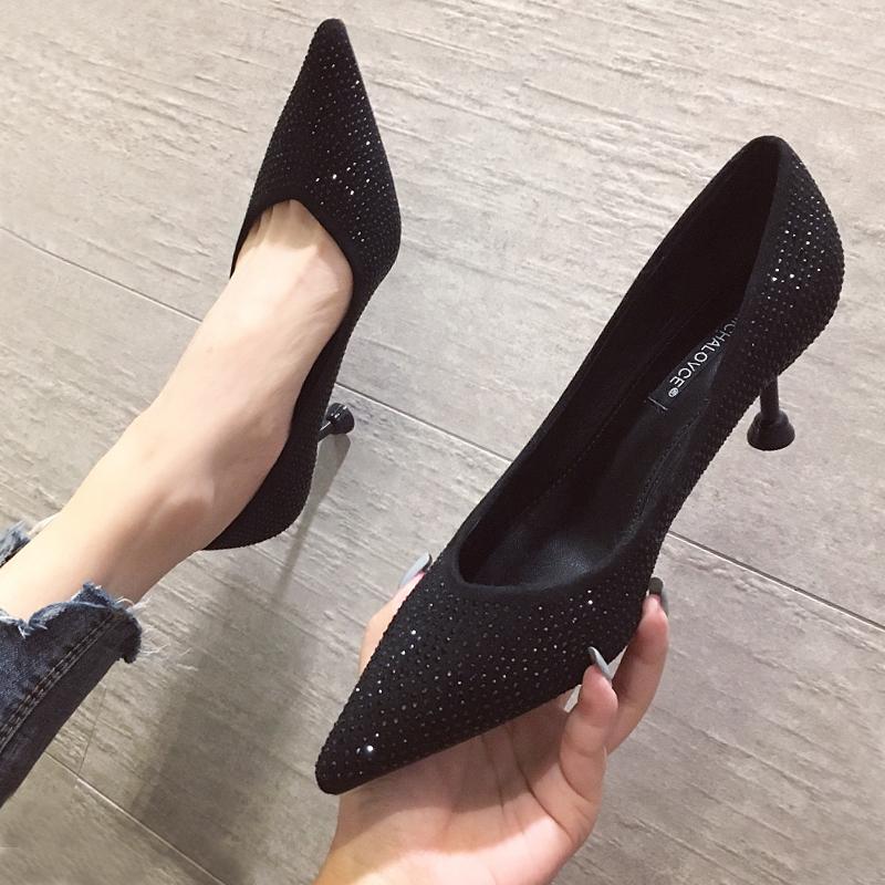 黑色尖头鞋 2021春秋季新款百搭小高跟鞋黑色职业女细跟法式少女细跟尖头网红_推荐淘宝好看的黑色尖头鞋