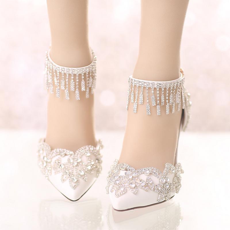 白色凉鞋 夏季新款白色尖头水晶婚鞋细跟超高跟新娘鞋一字式扣带水钻女凉鞋_推荐淘宝好看的白色凉鞋