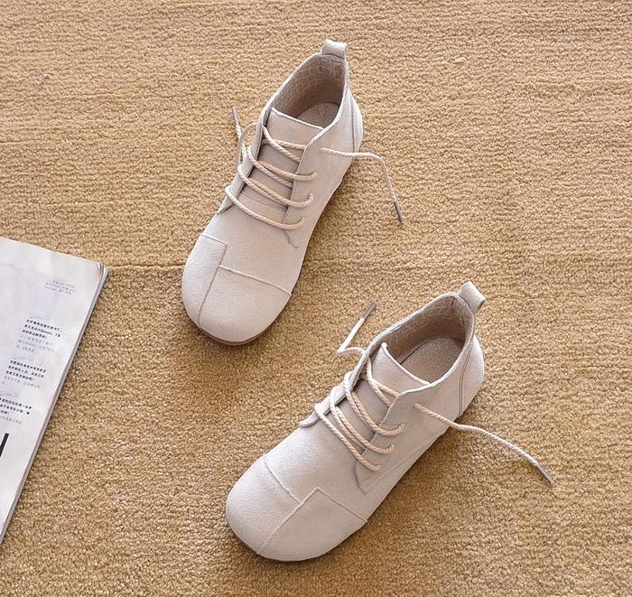 圆头短靴 2021新款春秋平跟短靴单靴平底鞋马丁靴短筒圆头及踝靴女靴子潮_推荐淘宝好看的女圆头短靴