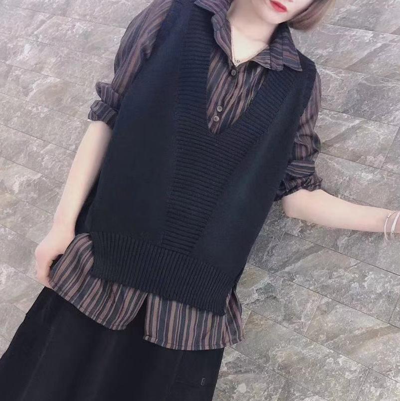 针织马甲 2021春款女百搭黑色马甲针织背心V领宽松针织衫外套无袖上衣春装_推荐淘宝好看的女针织马甲