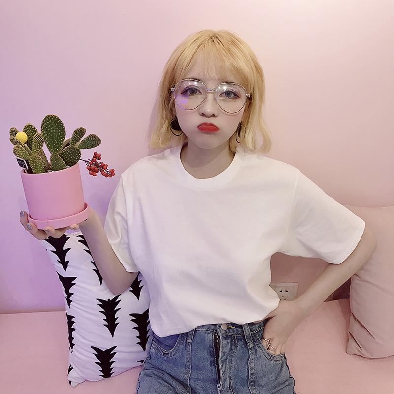紫色T恤 2020春夏新款纯棉T恤女短袖韩版宽松学生百搭白色体恤大码半袖ins_推荐淘宝好看的紫色T恤