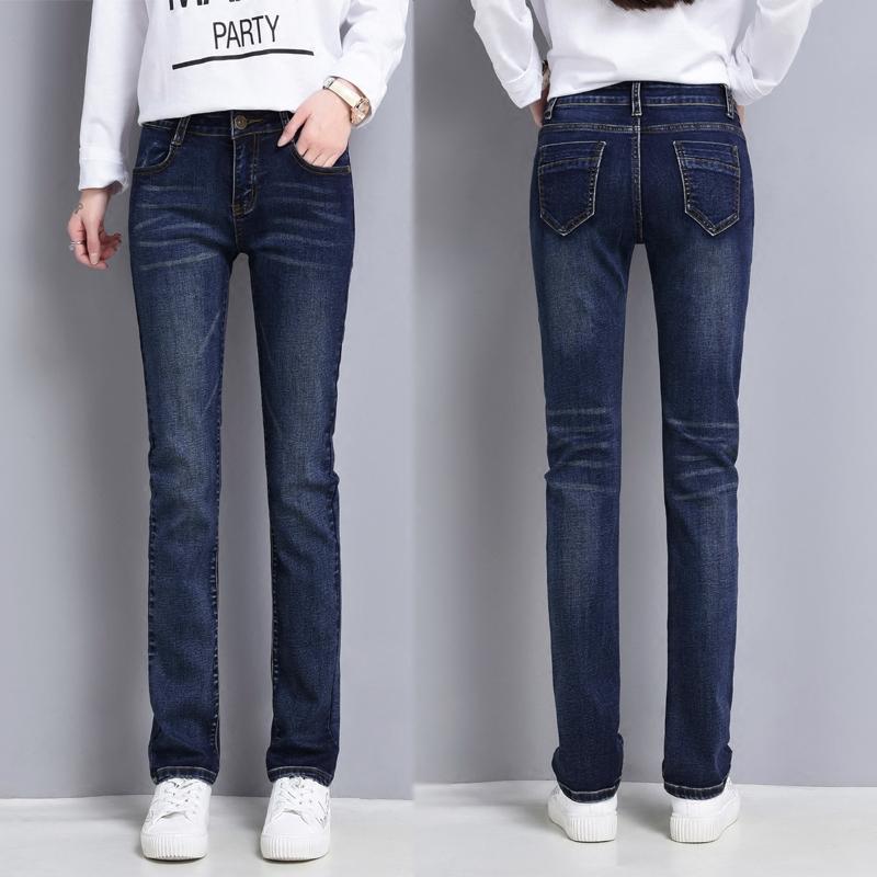 女士大码牛仔裤 2021年春季女直筒牛仔裤女弹力中腰潮流显瘦宽松直通深色大码长裤_推荐淘宝好看的女大码牛仔裤