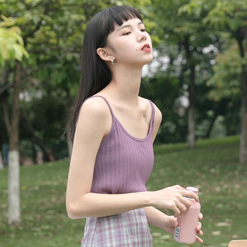 紫色背心 紫色内搭针织吊带黑色白色打底t恤美背小背心女夏外穿无袖上衣潮_推荐淘宝好看的紫色背心