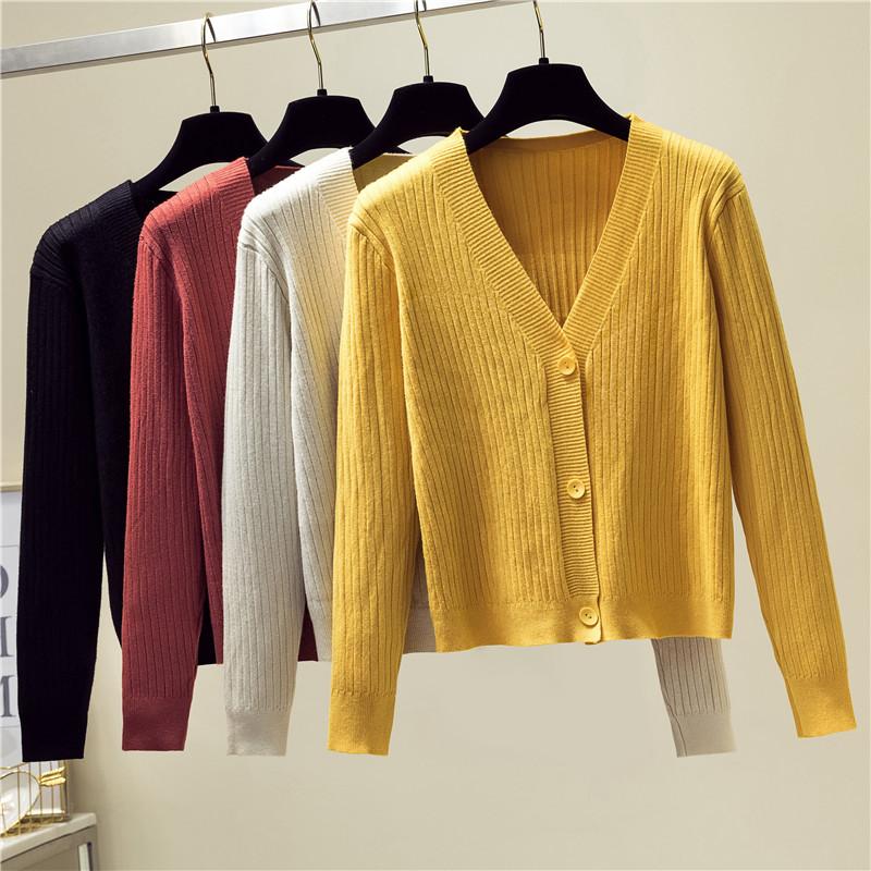 黄色针织衫 2020秋季新款韩版宽松黄色毛衣外套短款外搭长袖v领针织衫女开衫_推荐淘宝好看的黄色针织衫