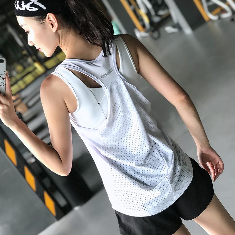 无袖t恤衫 健身女孩宽松运动背心外穿工字瑜伽上衣无袖速干跑步t恤训练罩衫_推荐淘宝好看的女无袖t恤衫