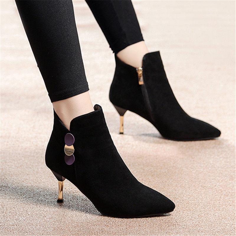 新款高跟鞋 2019新款短靴女秋冬季高跟鞋女细跟短筒女靴韩版百搭加绒靴P53_推荐淘宝好看的女新款高跟鞋