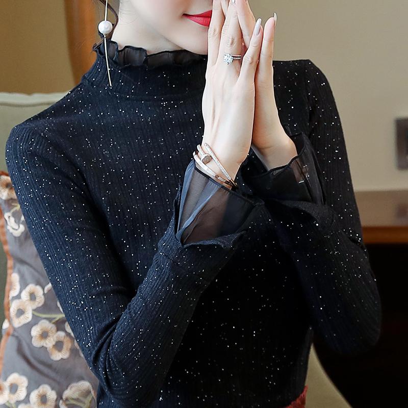 艾格女装折扣店 秋装亮丝网纱蕾丝打底衫女长袖秋季上衣黑色修身显瘦女装打底洋气_推荐淘宝好看的艾格女装