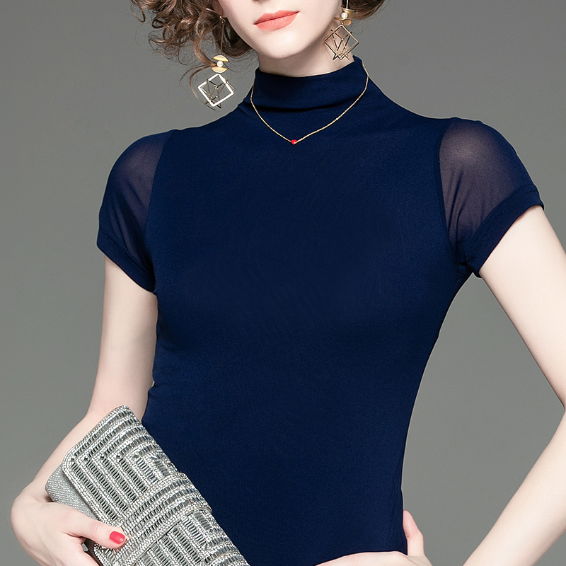 新款女装 秋季新款气质修身显瘦半高领网纱打底衫蓝色简约短袖套头女装上衣_推荐淘宝好看的新款女装