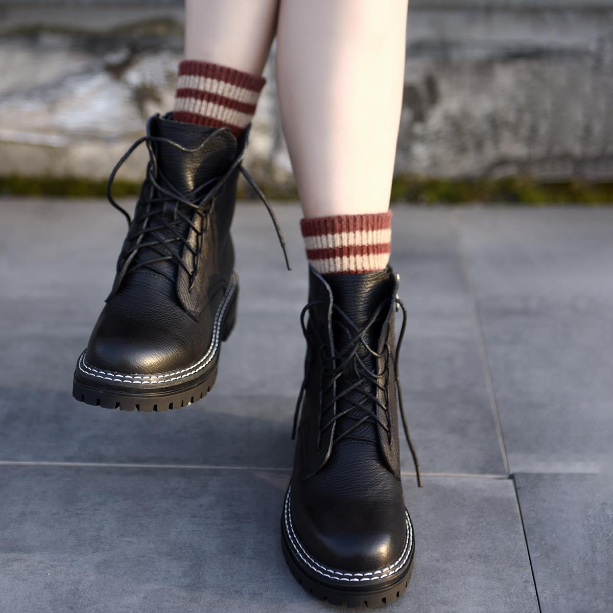 英伦短靴 Artmu阿木马丁靴女英伦风短靴网红女靴子新款机车靴厚底骑士靴_推荐淘宝好看的女英伦短靴