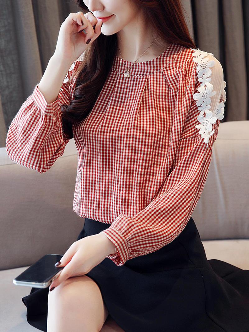 红色格子衬衫 粉红色格子打底衫女长袖心机设计感蕾丝拼接镂空上衣宽松圆领衬衫_推荐淘宝好看的女红色格子衬衫