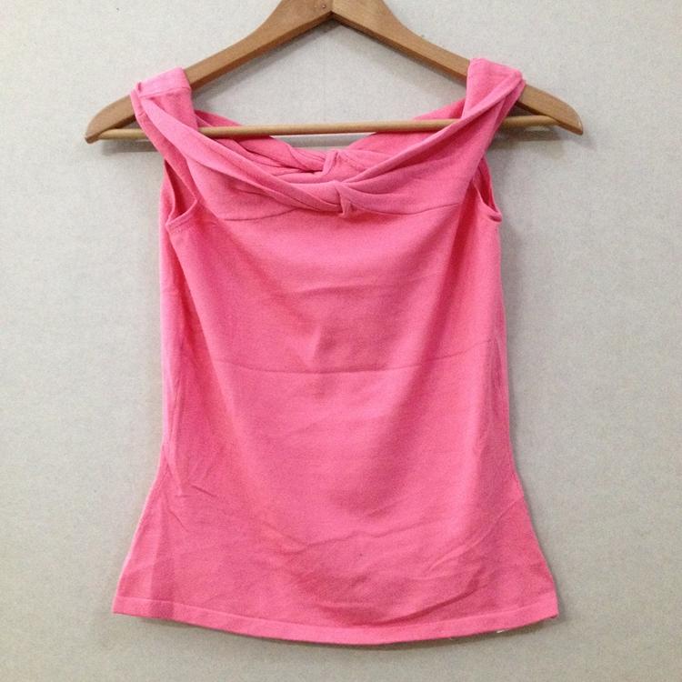 粉红色背心 z016尾货女装55%真丝45%氨纶针织背心粉红色大领子_推荐淘宝好看的粉红色背心