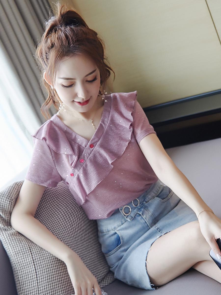 紫色雪纺衫 短袖女2021新款时尚潮流女装 气质小衫紫色宽松显瘦夏季雪纺衫_推荐淘宝好看的紫色雪纺衫