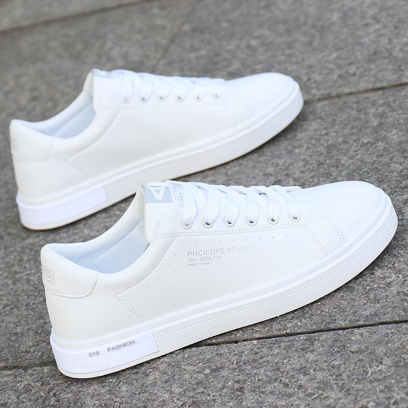白色运动鞋 男鞋秋季潮鞋2021新款百搭软底小白鞋韩版白色运动休闲鞋防水板鞋_推荐淘宝好看的白色运动鞋