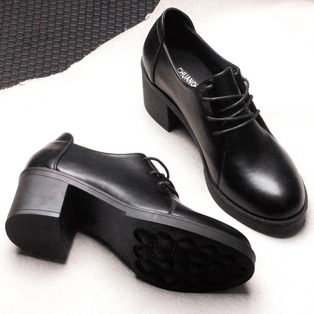 黑色高跟鞋 冬季黑色小皮鞋女中跟上班工作鞋粗跟高跟单鞋职业正装系带女鞋秋_推荐淘宝好看的黑色高跟鞋