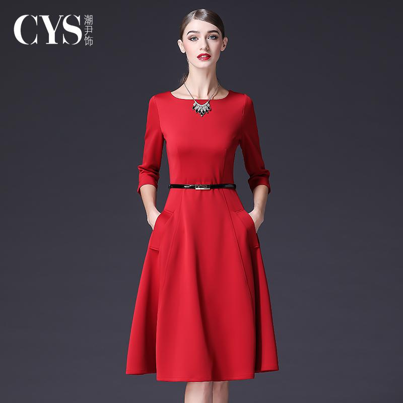 红色连衣裙 秋季红色长袖连衣裙2021早秋新款女装赫本风收腰显瘦气质修身裙子_推荐淘宝好看的红色连衣裙