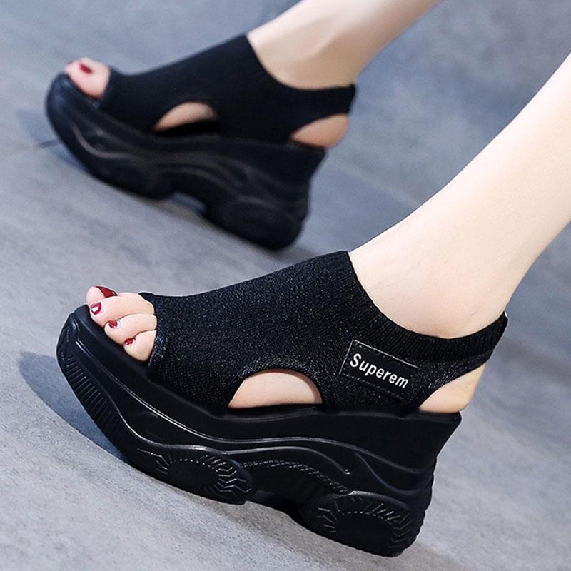 松糕厚底凉鞋 网红运动女时装凉鞋仙女风夏季2021新款厚底高跟内增高松糕罗马鞋_推荐淘宝好看的女松糕厚底凉鞋