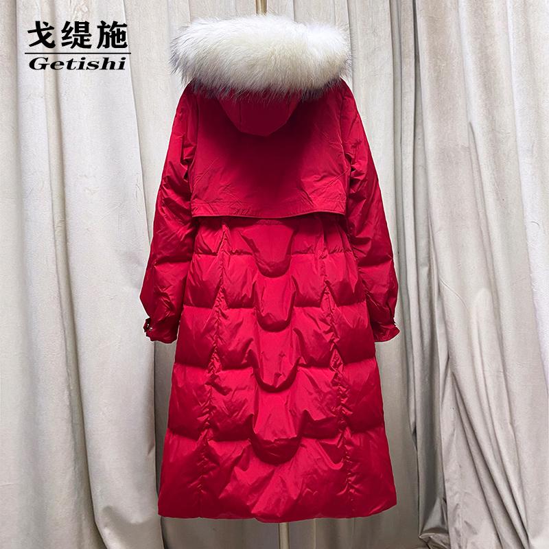 红色羽绒服 2021年冬装新款大红色羽绒服女中长款白鸭绒收腰气质反季清仓断码_推荐淘宝好看的红色羽绒服