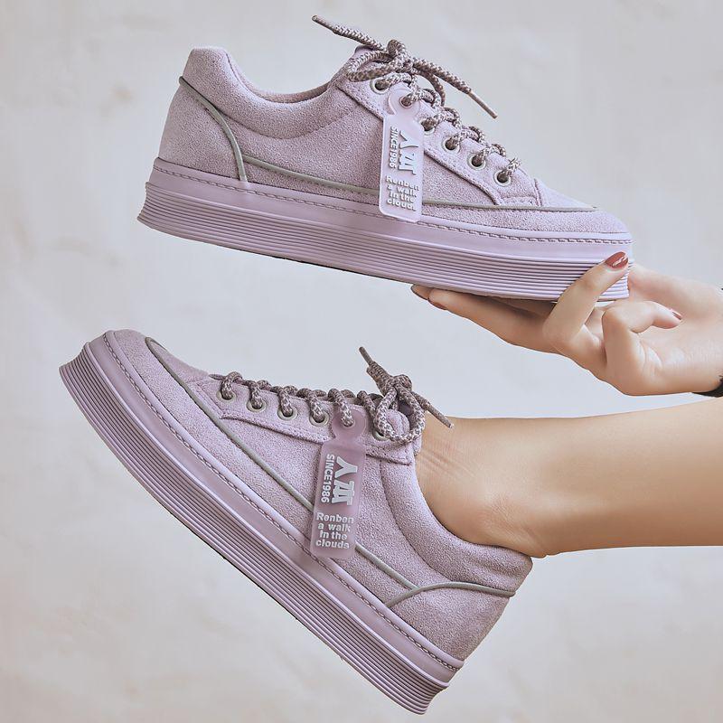 紫色松糕鞋 人本女孩紫色帆布鞋2020秋季新款百搭厚底松糕板鞋学生绒面二棉鞋_推荐淘宝好看的紫色松糕鞋