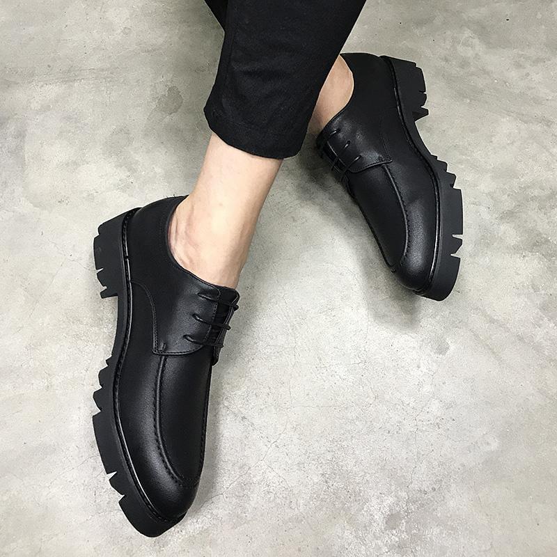 黑色松糕鞋 潮流厚底英伦男士松糕皮鞋黑色青年休闲鞋子韩版内增高6cm男鞋_推荐淘宝好看的黑色松糕鞋