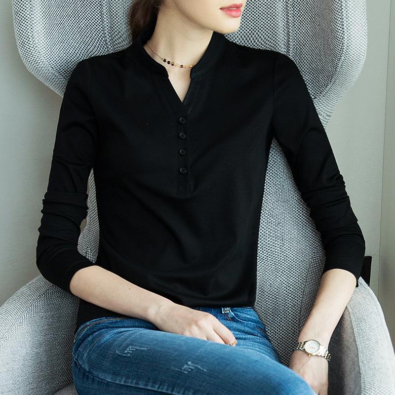 黑色T恤 长袖t恤女打底衫黑色2020春秋新款韩版针织V领显瘦内搭冬季薄上衣_推荐淘宝好看的黑色T恤