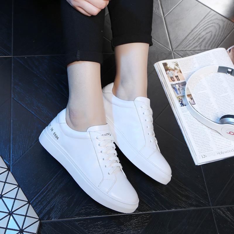 白色单鞋 头层牛皮真皮百搭小白鞋女全皮休闲运动旅游平底单鞋纯皮白色板鞋_推荐淘宝好看的白色单鞋