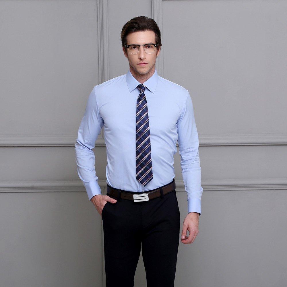 男士衬衫 蓝色商务结婚婚礼英伦韩版修身简约法式袖扣长袖衬衫男衬衣白衬衣_推荐淘宝好看的男衬衫