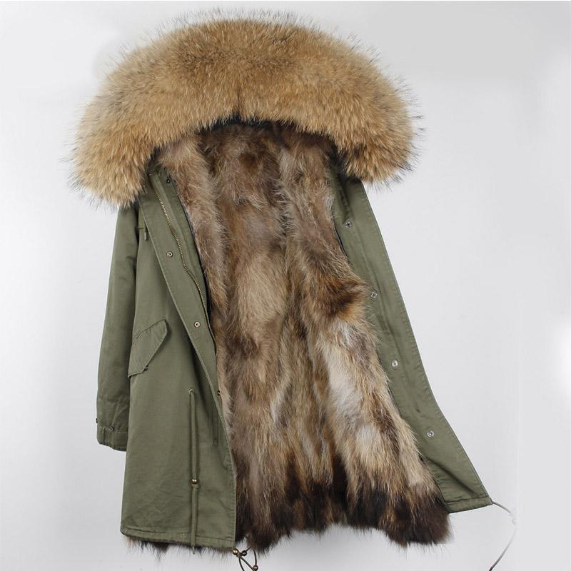 貉子毛皮草外套 冬季新款貉子毛皮草外套中长款派克服可拆卸大毛领毛皮大衣女加厚_推荐淘宝好看的女貉子毛皮草外套