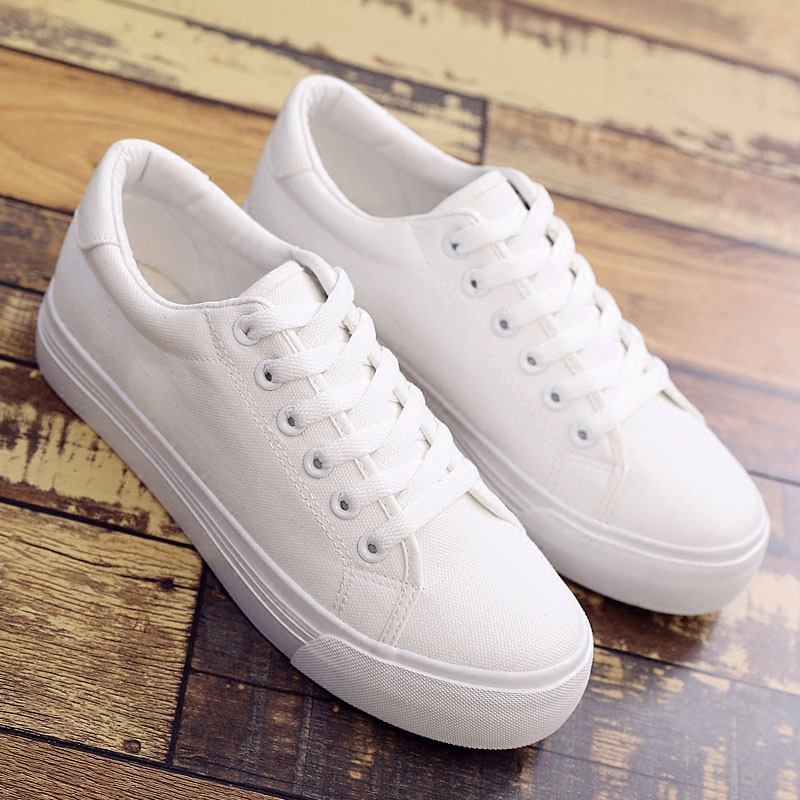 白色松糕鞋 2021夏季新款小白鞋女厚底松糕白色帆布鞋增高学生韩版百搭板鞋_推荐淘宝好看的白色松糕鞋