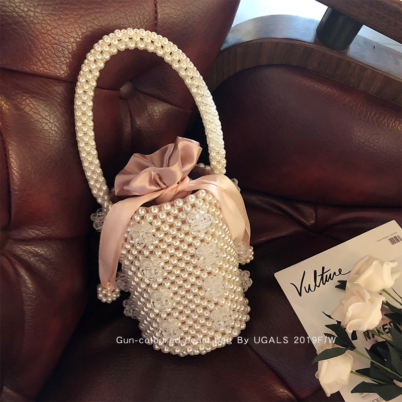 白色水桶包 UGALS韩国名媛手工编织白色透明水晶珍珠包包手提单肩斜挎水桶包_推荐淘宝好看的白色水桶包