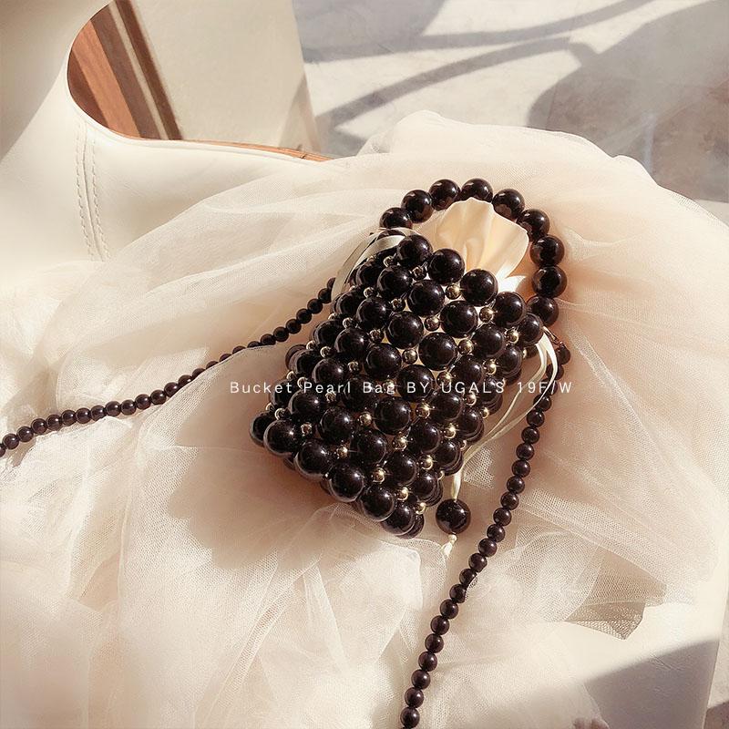 黑色水桶包 UGALS金属黑色圆桶包手工编织串珠珍珠小包水桶包手提单肩斜挎包_推荐淘宝好看的黑色水桶包