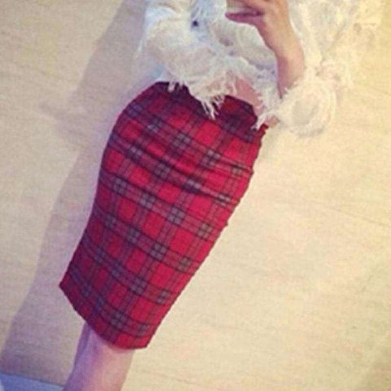 半身长裙子 修身性感显瘦复古红色格子高腰包臀裙半身裙中长裙子中包裙后开叉_推荐淘宝好看的半身长裙