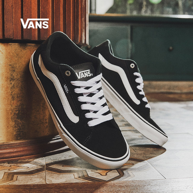 低帮复古板鞋 Vans范斯官方 黑白潮流侧边条纹复古男鞋低帮潮板鞋运动鞋_推荐淘宝好看的低帮复古板鞋