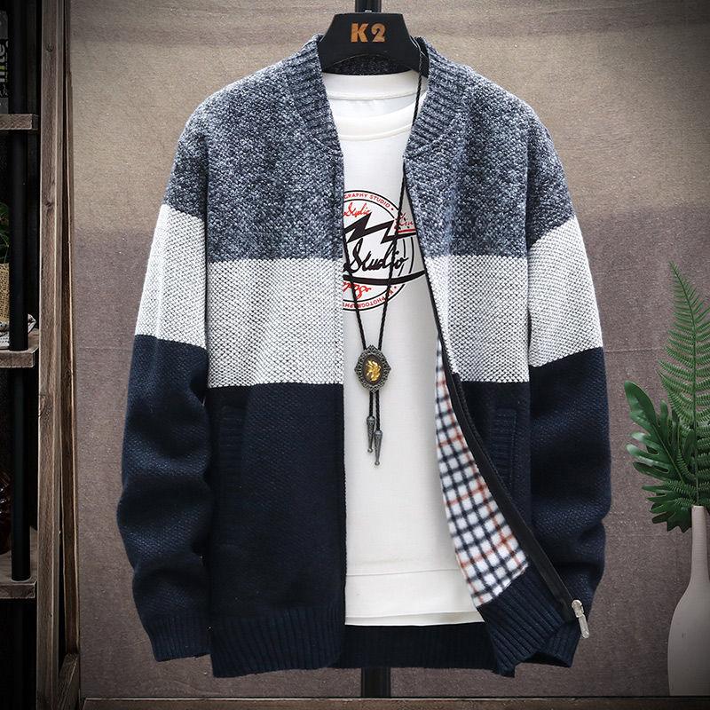 男士针织衫 加绒加厚秋冬季男士开衫毛衣立领连帽针织衫厚款款式毛线外套_推荐淘宝好看的男针织衫