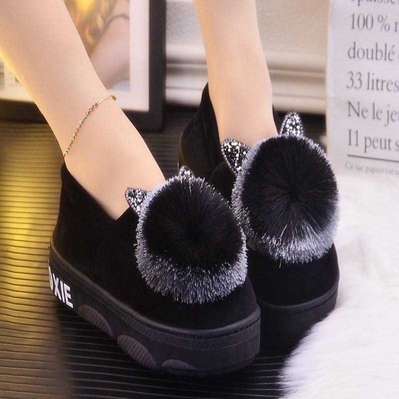 坡跟鞋 厚底棉拖鞋女冬季加绒韩版高跟包根保暖室内可爱防滑坡跟松糕外穿_推荐淘宝好看的女坡跟鞋