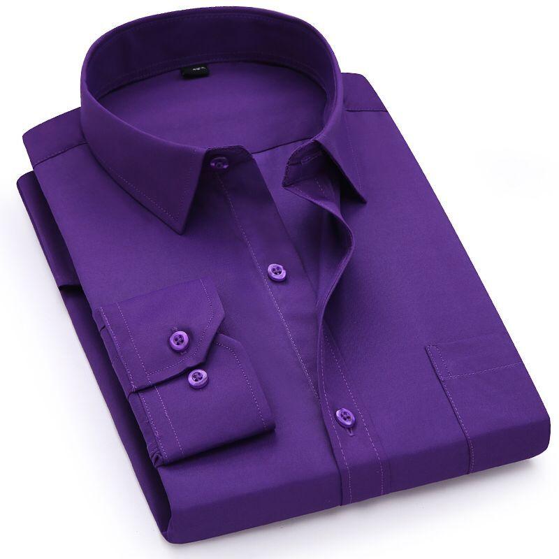 紫色衬衫 春季纯紫色衬衫男长袖商务休闲职业工装纯色衬衣男寸衫打底衫免烫_推荐淘宝好看的紫色衬衫